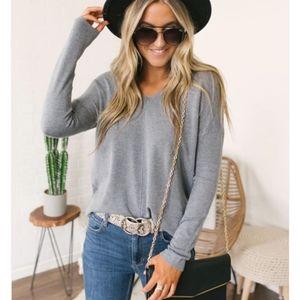 Lightweight Gray V-neck Sweater